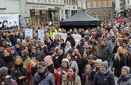 Demonstration 22. marts 2018 på Store Torv i Aarhus i forbindelse med OK18.