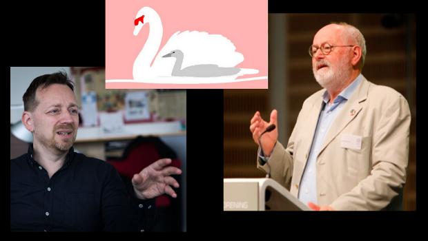 Sprogredaktør Martin Kristiansen og lærer og forfatter Jens Raahauge skulle have modtaget priserne Ællingen og Svanen på torsdag.