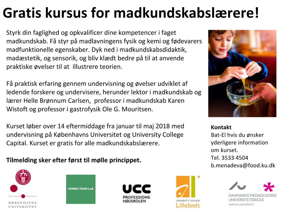 NU FLERE PLADSER Gratis kompetencegivende kursus for madkundskablærere!